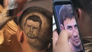 Fans getting Canelo & Triple G faces cut into their hair by Abner Mares barber