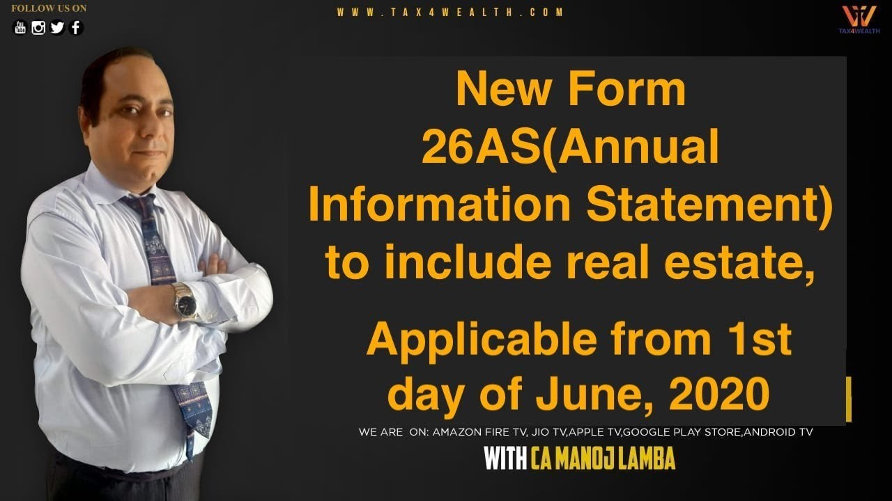 "Live discussion on Thursday 12:30 PM "" New form 26AS ( Annual Information statement) with CA Manoj"