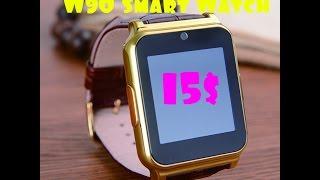 W90 Smart Watch обзор золотых часов с кожаным ремешком за 15$