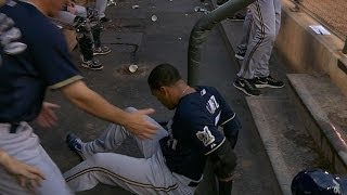Carlos Gomez's string of BAD LUCK! Breaks bat, makes an out and FALLS DOWN the dugout steps!