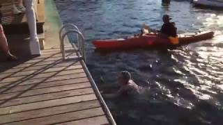 Marathon swimmer conquers New Jersey's largest lake
