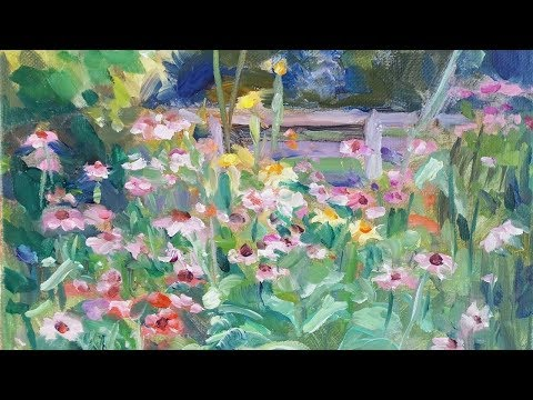 Field of Cosmos Oil Painting Demo Beatles ASMR by Peter Chorao