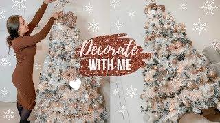 DECORATING MY CHRISTMAS TREE 2019 | BLUSH PINK, WHITE, ROSE GOLD & FEATHERS | FLOCKED TREE