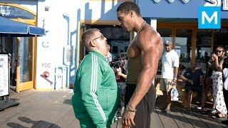 Fat Man VS Bodybuilders (Epic Prank) | Muscle Madness