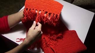 Вязание спицами.Закончила комплект - шапку и шарф.