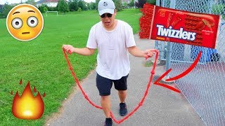 DIY EDIBLE JUMP ROPE USING ONLY TWIZZLERS AND IT WORKS..