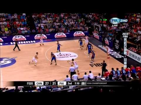 「2015 AsiaBasket 」China Attack 2-3 Zone Defence by Triple-post (三角落位破解2-3區域聯防))