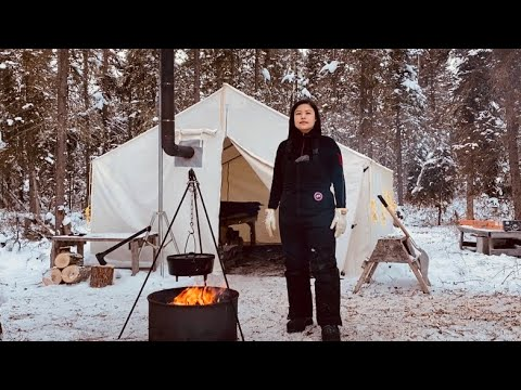 -29C WINTER CAMPING in a CAST IRON HOT TENT | ESCAPE to ...