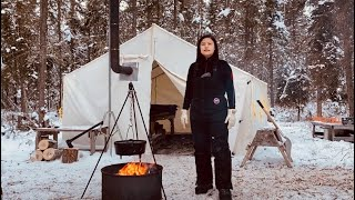 -29C WINTER CAMPING iฑ a CAST IRON HOT TENT | ESCAPE to the WILDERNESS