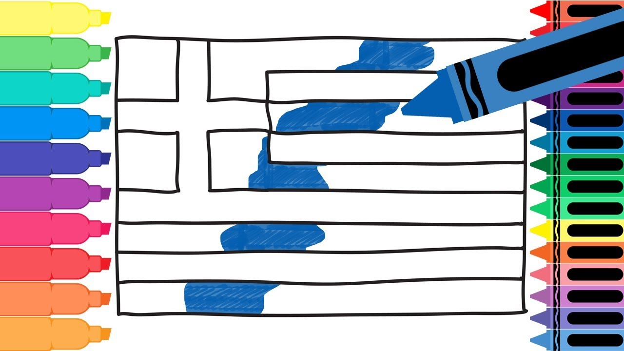 How to draw greece flag drawing the greek flag for Greek flag coloring page