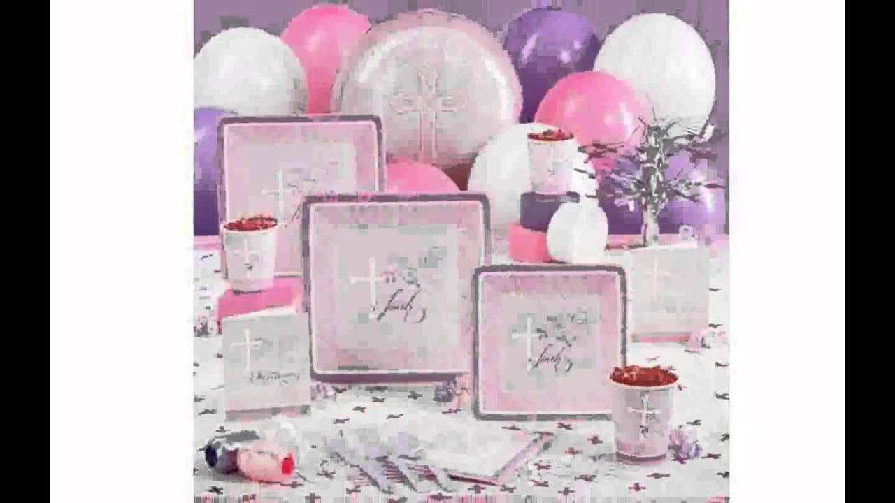 Christening decorations ideas girl youtube for Baby girl baptism decoration ideas
