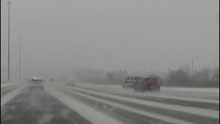 Snow Storm in Toronto - Car Accident on Highway 400 Caught on Dash Cam