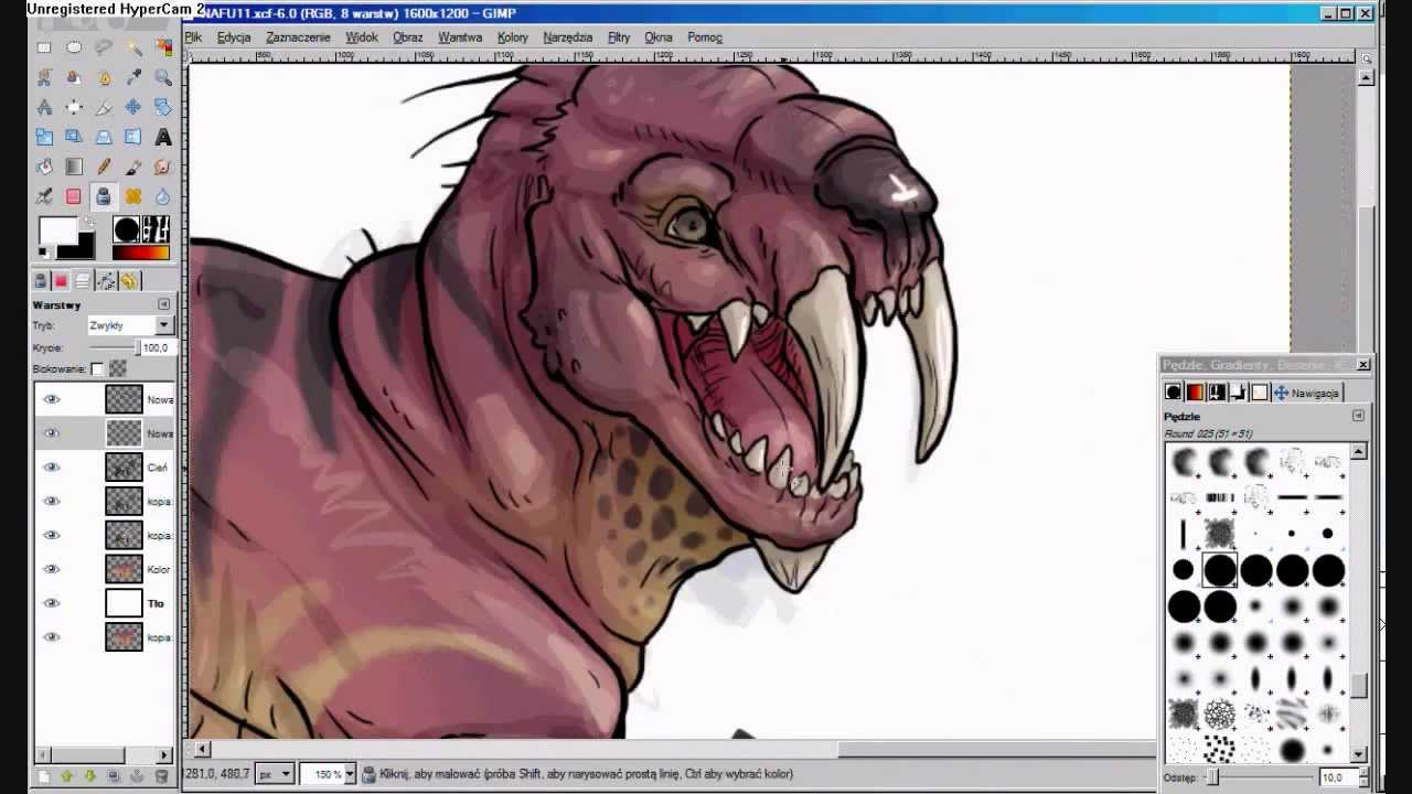 Line Drawing Gimp : Creature drawing in gimp youtube
