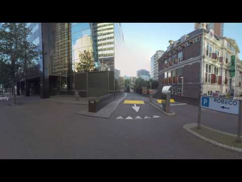 360 VR Rotterdam street with Fortis bank and Robeco buildings