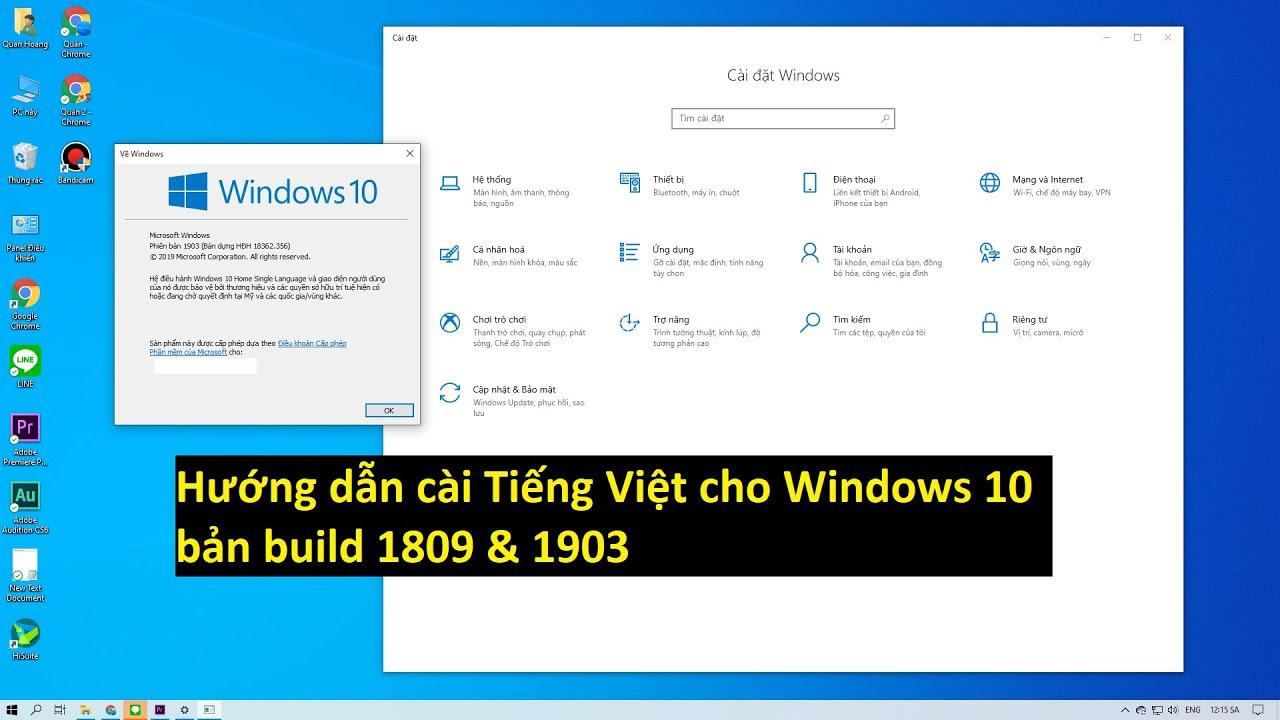 Hướng dẫn cài ngôn ngữ Tiếng Việt cho windows 10 bản build 1809 & 1903