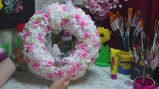 Vintage - Kranz aus Rosen und Federn