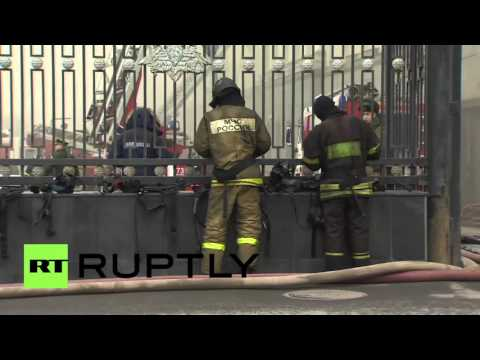 Russia: EMERCOM personnel tackle blaze at Defence Ministry offices