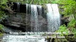 Grassy Creek Falls, Waterfall near Blue Ridge Parkway in North Carolina