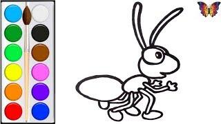 Как нарисовать и раскрасить ИГРУШЕЧНОГО МУРАВЬЯ, раскраска ИГРУШКА МУРАВЕЙ. Раскраски Малышам.