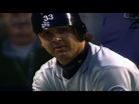 1997 ASG: Larry Walker turns helmet backwards and bats righty against Randy Johson