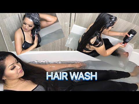 LONG HAIR WASH IN BATH TUB -  LOL #wetclothes #asmrbath #shampoo #longhair #asmr