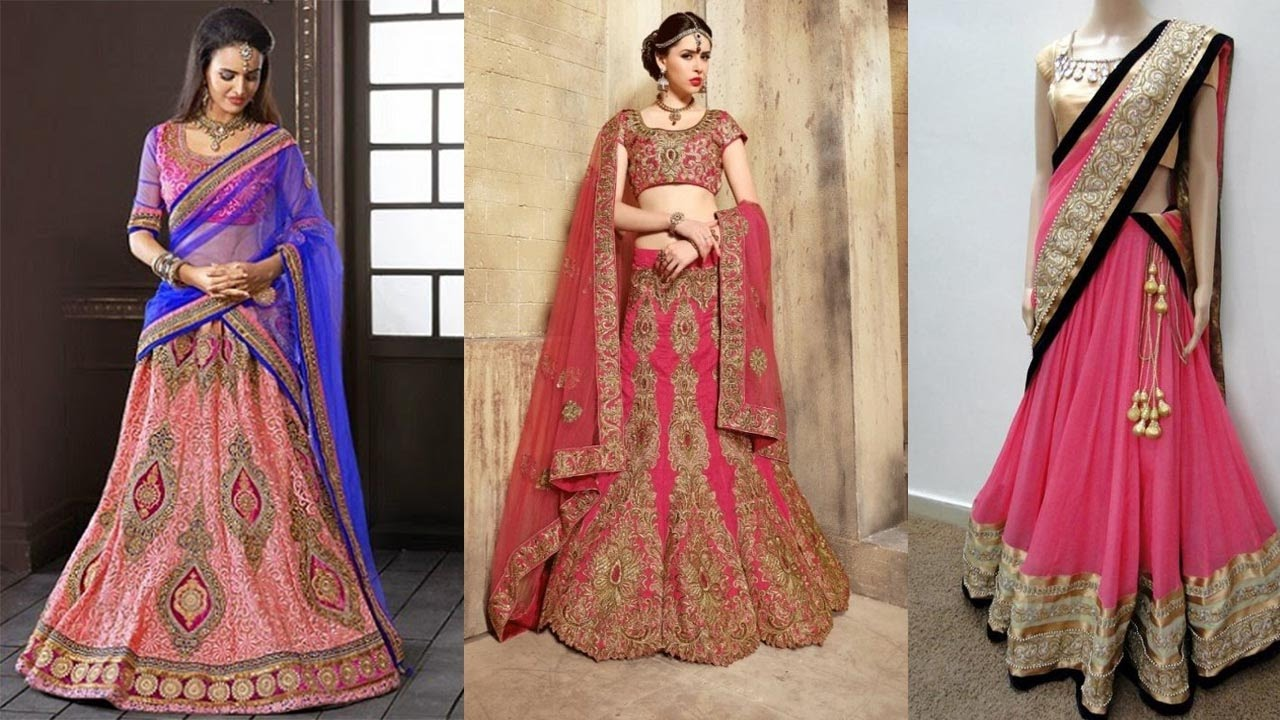 Different hairstyles to try with sarees - 5 Gorgeous Ways To Wear A Lehenga Saree To Look Slim How To Wear Lehenga Dupatta In Different Styles Youtube
