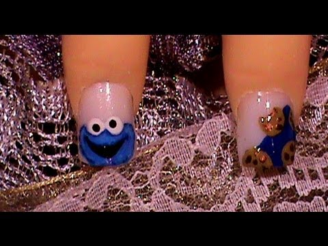 Cookie Monster Short Nail Art Design Tutorial