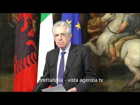 Mario Monti e  Berisha a Roma - L'Italia teme il sorpasso economico della Germania in Albania