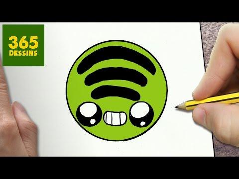 Comment Dessiner Logo Spotify Kawaii étape Par étape