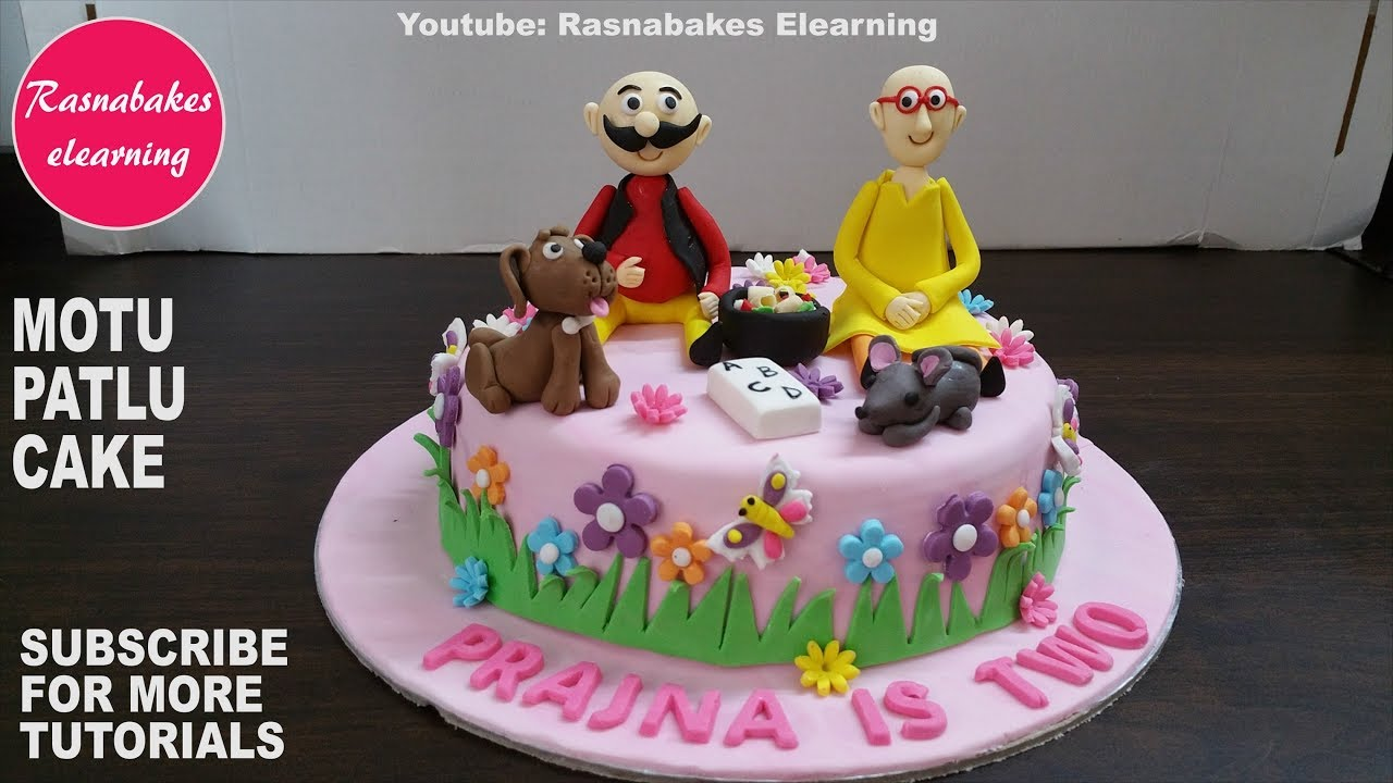 Motu patlu cartoon birthday cake design ideas:cake decorating ...