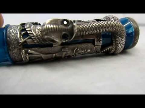 MONTEGRAPPA LUXOR BLUE NILE SILVER 18K gold LIMITED EDITION FOUNTAIN PEN