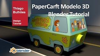 Tutorial  modelagem da Mystery machine scooby doo papercraft Blender 3D