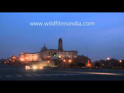 South Block at dusk: Indian military headquarters