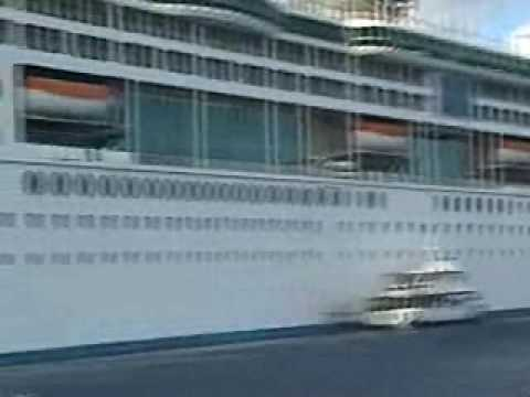 Enchantment of the Seas Carnival Legend Collision Damage.wmv