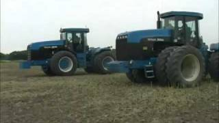 Two New Holland Versatile Articulated Tractors working side by side on our Kent Farm