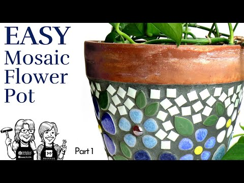 Easy Mosaic Ceramic Flower Pot, part 1