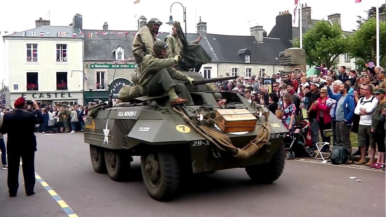 D-Day Festival June 2016 Sainte mère église , La Fiere Paratroopers &  military vehicles parade