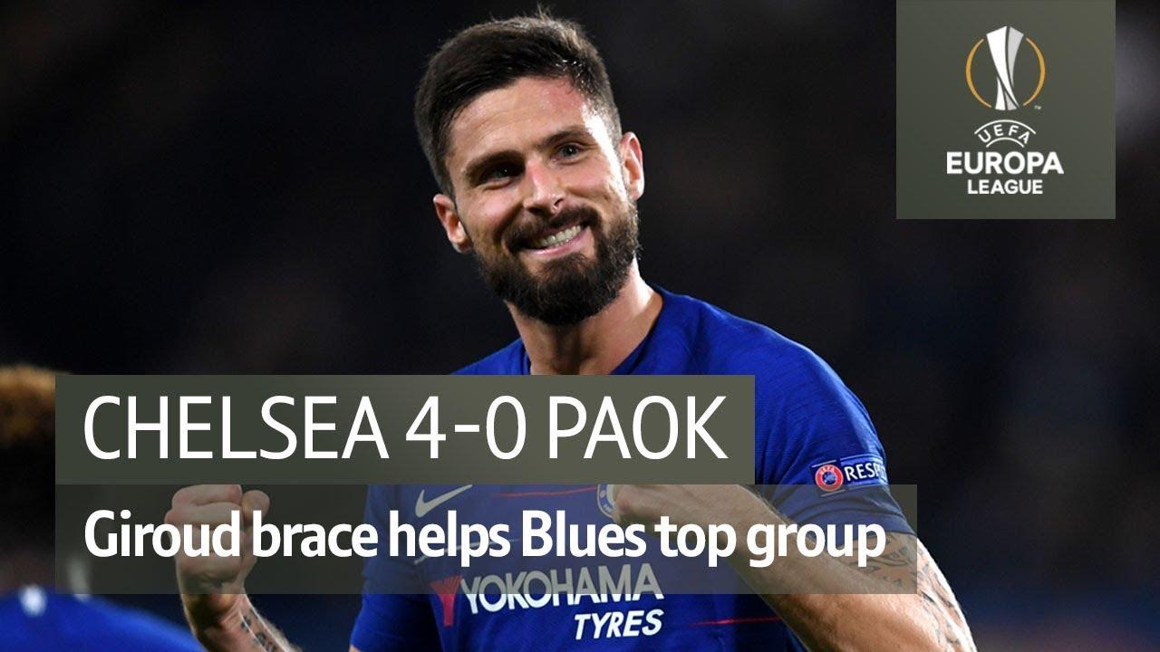 Chelsea Vs Paok 4 0 Uefa Europa League Highlights Youtube