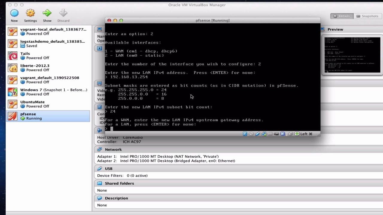 Pfsense Virtualbox Network Adapters