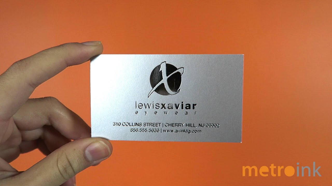 metroink business cards metallic silver cardstock with silver foil