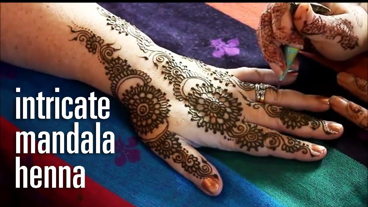 Demonstration Of Intricate Henna Mandala Pattern Mumbai Style