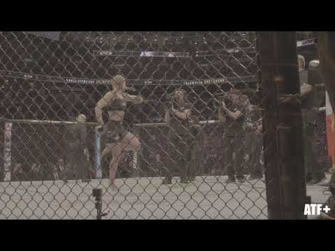 Valentina Shevchenko hits her trademark dance in the octagon - ATF+