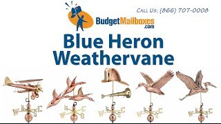 Budgetmailboxes.com | Good Directions 9606v1 Blue Heron Weathervane - Blue Verde Copper