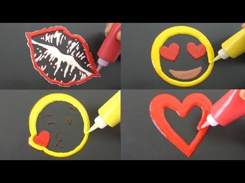 Romantic Emoji Pancake Art - Kiss Mark, Heart Eyes, Love Heart, Blowing Kiss