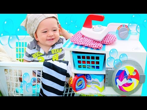 Laundry Playset Melissa & Doug Family Fun Washing Clothes Cute Baby Eli Pretend Play Wooden Toys