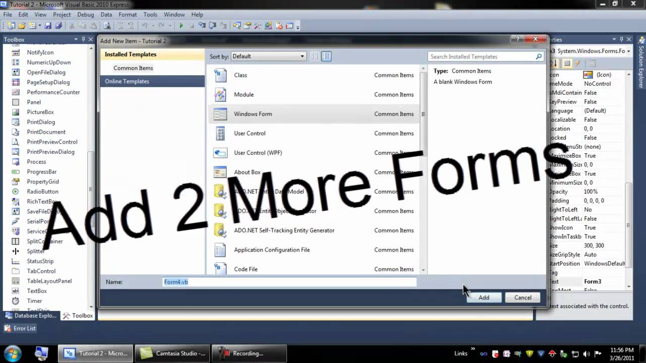 Visual Basic 2010 Tutorial 2 - Multiple Forms