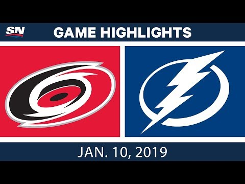 NHL Highlights | Hurricanes vs. Lightning - Jan. 10, 2019