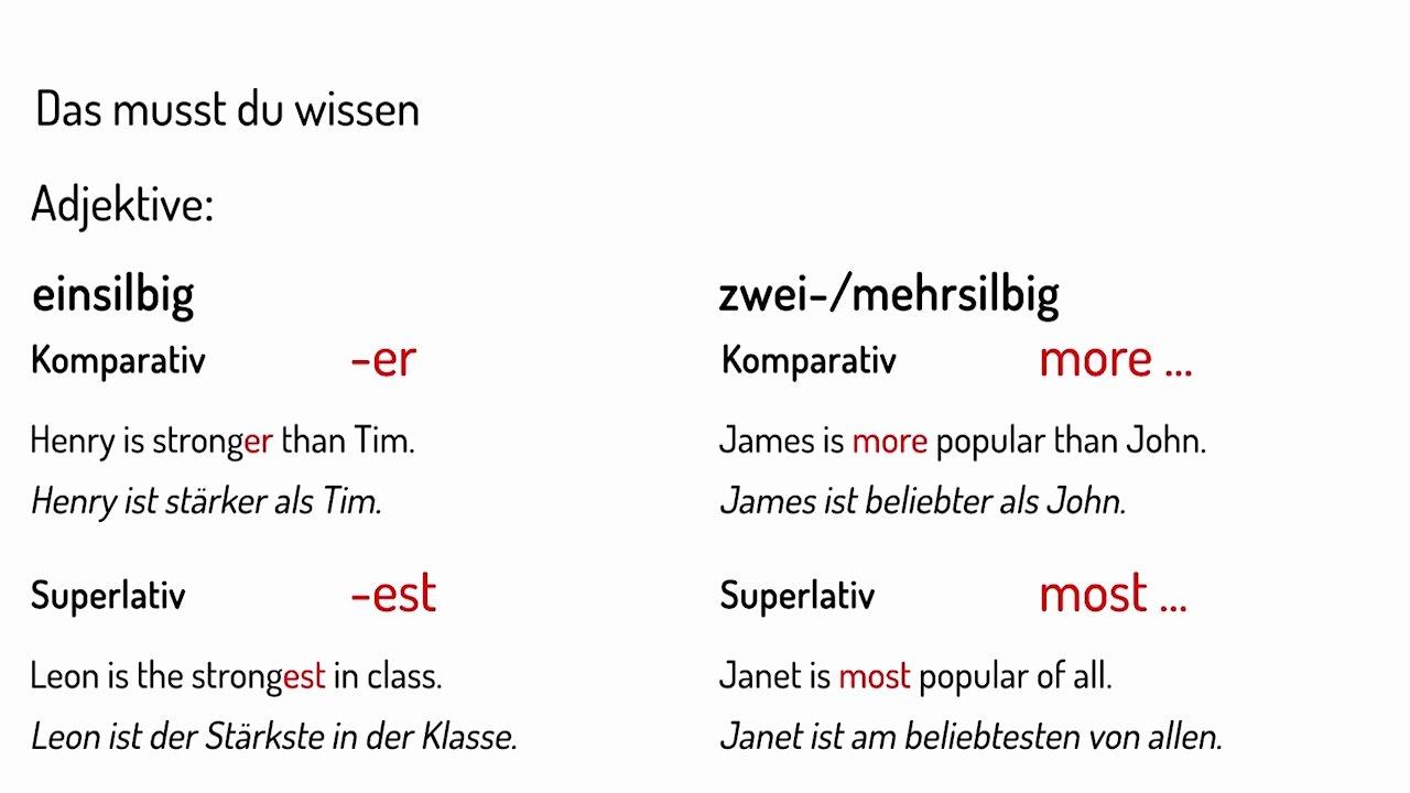 Wie du Adjektive im Englischen steigerst Vorschau