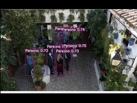 Vídeo grabado desde el drone con detección de personas