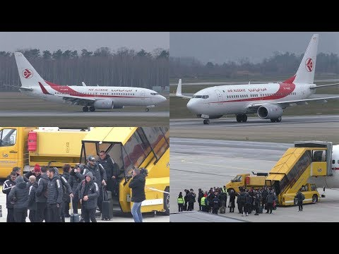 ALGERIA NATIONAL FOOTBALL TEAM ONBOARD Air Algerie Boeing 737 landing at Graz Airport